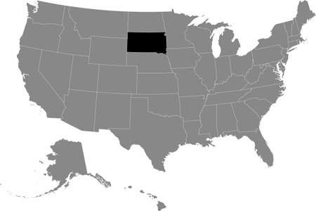 Black location map of US federal state of South Dakota inside gray map of the United States of America