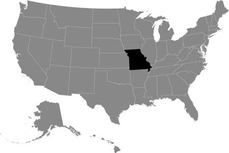 Black location map of US federal state of Missouri inside gray map of the United States of America