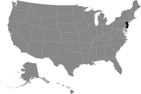 Black location map of US federal state of New Jersey inside gray map of the United States of America Vetores