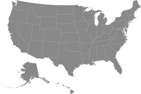 Gray vector federal map of the United States of America with white borders of it's federal states