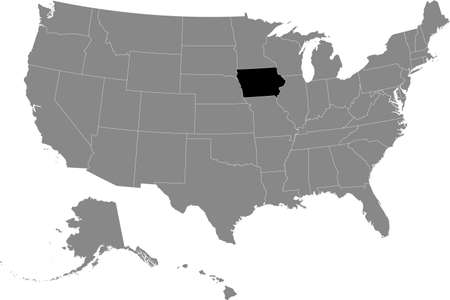 Black location map of US federal state of Iowa inside gray map of the United States of America