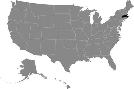 Black location map of US federal state of Massachusetts inside gray map of the United States of America