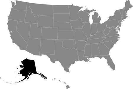 Black location map of US federal state of Alaska inside gray map of the United States of America