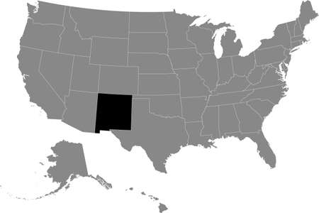 Black location map of US federal state of New Mexico inside gray map of the United States of America
