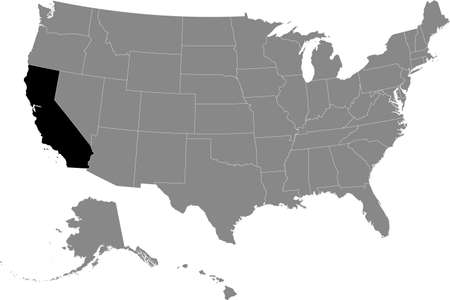 Black location map of US federal state of California inside gray map of the United States of America