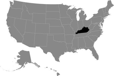 Black location map of US federal state of Kentucky inside gray map of the United States of America