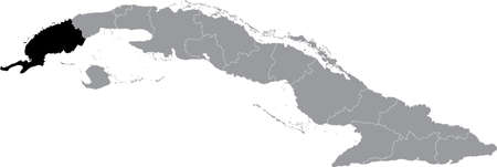 Black location map of Pinar del Río province inside gray map of Cuba