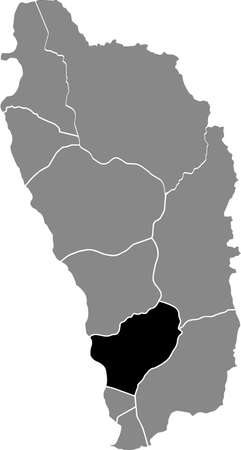 Black location map of Dominican Saint George parish inside gray map of Dominica