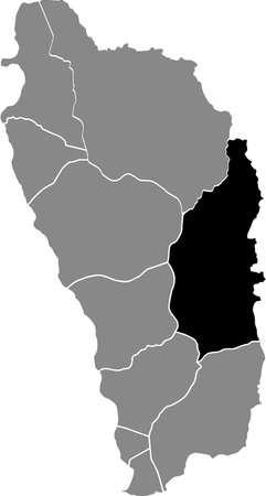Black location map of Dominican Saint David parish inside gray map of Dominica