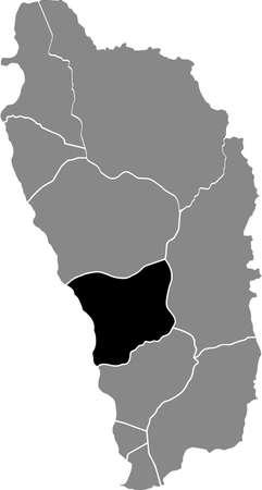 Black location map of Dominican Saint Paul parish inside gray map of Dominica