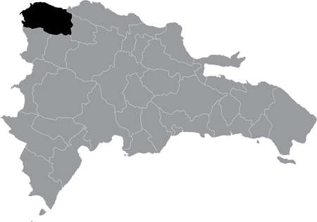 Black location map of the Dominican Monte Cristi province inside gray map of the Dominican Republic