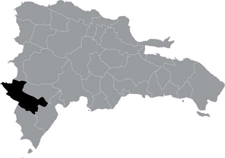 Black location map of the Dominican Independencia province inside gray map of the Dominican Republic