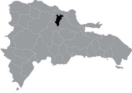 Black location map of the Dominican Hermanas Mirabal province inside gray map of the Dominican Republic 矢量图像