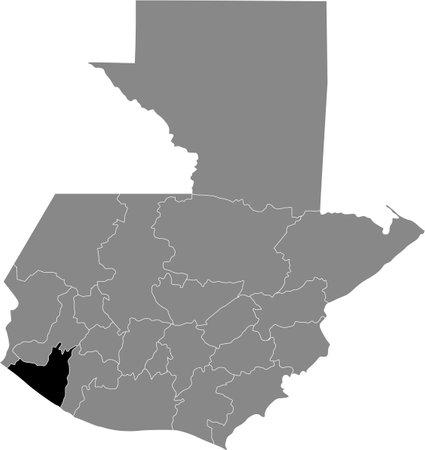Black location map of the Guatemalan Retalhuleu department inside gray map of Guatemala