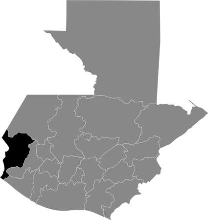 Black location map of the Guatemalan San Marcos department inside gray map of Guatemala