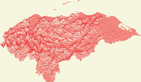 Topographic map of Honduras with red contour lines on beige background