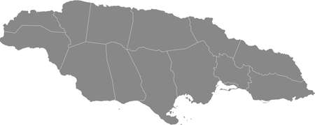 Gray vector map of Jamaica with white borders of it's parishes