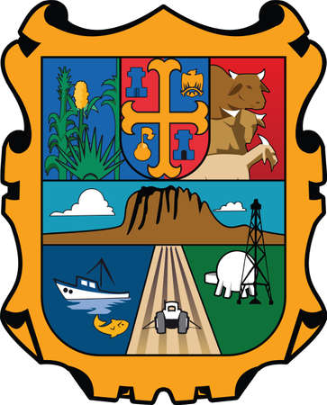 Official vector coat of arms of the Mexican state of Tamaulipas Illustration