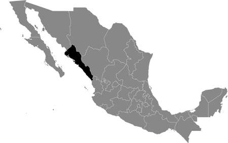 Black location map of Mexican Sinaloa state inside gray map of Mexico