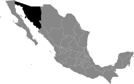 Black location map of Mexican Sonora state inside gray map of Mexico