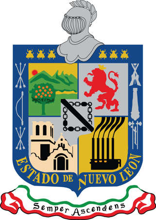 Official vector coat of arms of the Mexican state of Nuevo León Illustration