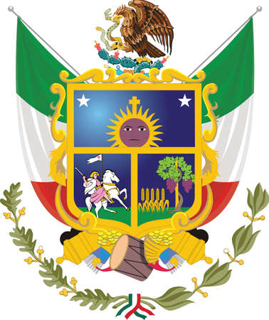 Official vector coat of arms of the Mexican state of Querétaro Illustration