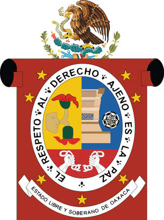 Official vector coat of arms of the Mexican state of Oaxaca Illustration