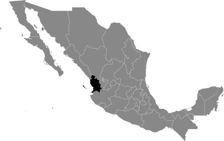 Black location map of Mexican Nayarit state inside gray map of Mexico