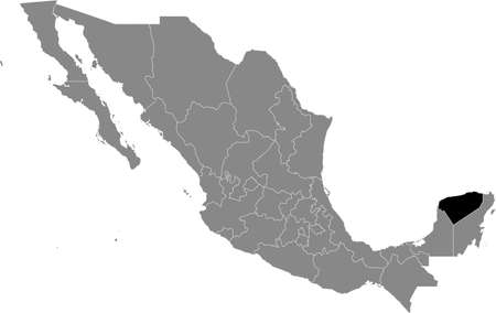 Black location map of Mexican Yucatán state inside gray map of Mexico