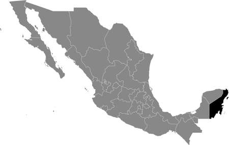 Black location map of Mexican Quintana Roo state inside gray map of Mexico Illustration