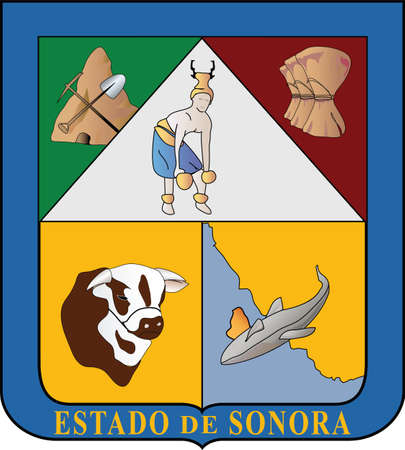 Official vector coat of arms of the Mexican state of Sonora Illustration