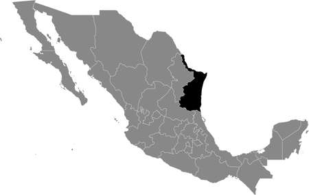 Black location map of Mexican Tamaulipas state inside gray map of Mexico