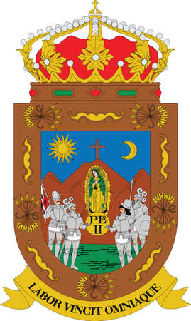 Official vector coat of arms of the Mexican state of Zacatecas Illustration