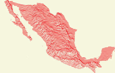 Topographic map of Mexico with red contour lines and baige background Illustration