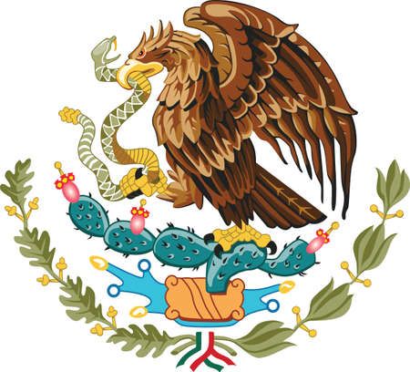 Official current vector coat of arms of federal presidential constitutional republic of Mexico