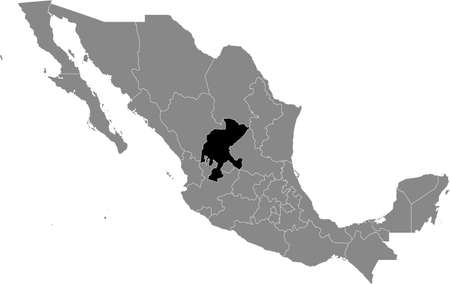 Black location map of Mexican Zacatecas state inside gray map of Mexico