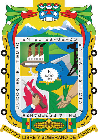Official vector coat of arms of the Mexican state of Puebla