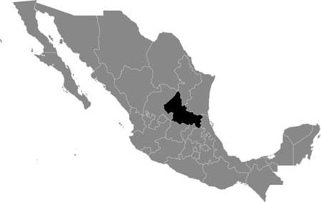 Black location map of Mexican San Luis Potosí state inside gray map of Mexico