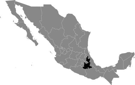 Black location map of Mexican Puebla state inside gray map of Mexico