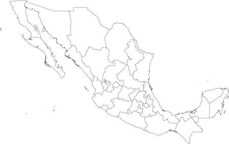White vector map of  United Mexican States with black borders of it's states Illustration