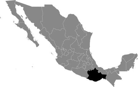 Black location map of Mexican Oaxaca state inside gray map of Mexico