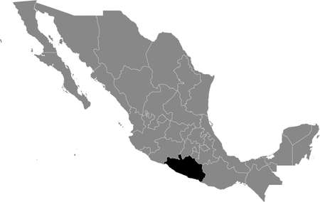 Black location map of Mexican Guerrero state inside gray map of Mexico Illustration