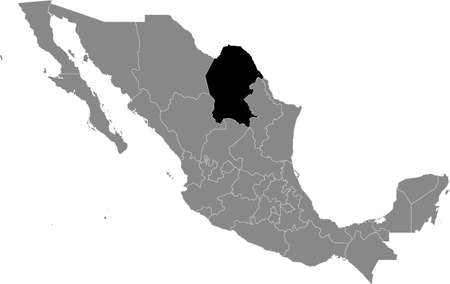 Black location map of Mexican Coahuila state inside gray map of Mexico