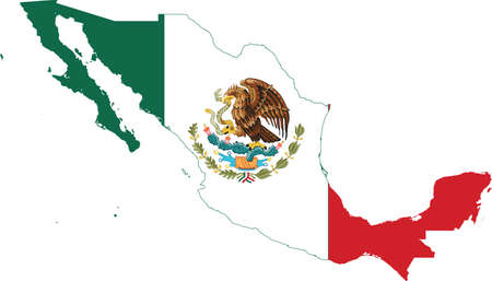 Flag of Mexico cropped inside it's map