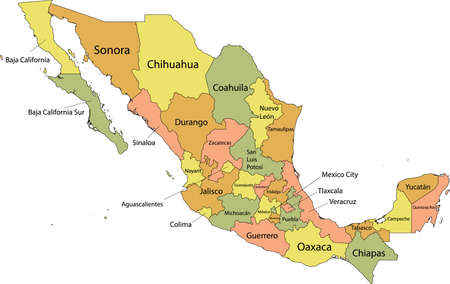Pastel vector map of United Mexican States with black borders and names of it's states