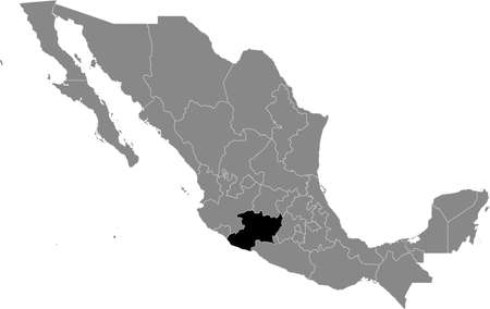 Black location map of Mexican Michoacán state inside gray map of Mexico