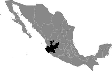 Black location map of Mexican Jalisco state inside gray map of Mexico