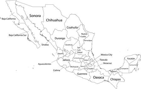 White vector map of  United Mexican States with black borders and names of it's states Illustration