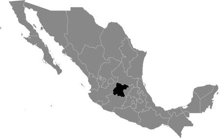 Black location map of Mexican Guanajuato state inside gray map of Mexico Illustration