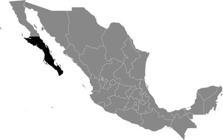 Black location map of Mexican Baja California Sur state inside gray map of Mexico Illustration